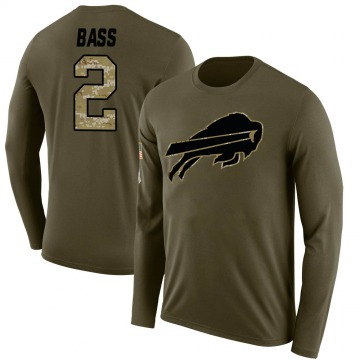 Men's Tyler Bass Buffalo Bills Salute to Service Sideline Olive Legend Long Sleeve T-Shirt