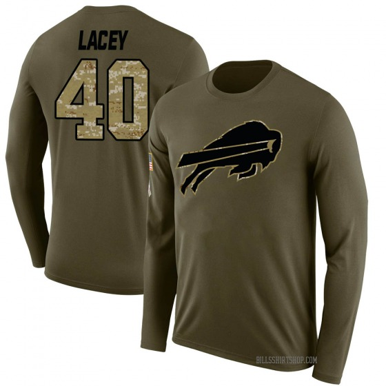Youth Deon Lacey Buffalo Bills Salute to Service Sideline Olive Legend Long Sleeve T-Shirt